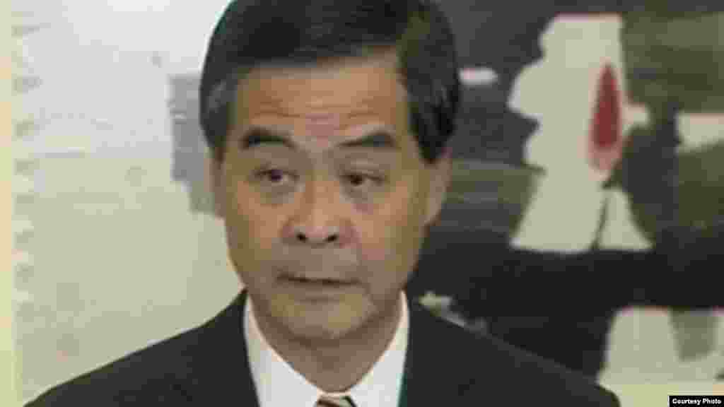 Leung Chun-ying, commonly known as CY Leung, chief executive of Hong Kong, appointed July 1, 2012. (screen grab from BBC television press conference), Oct. 2, 2014)