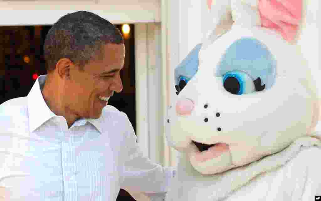 President Obama with the Easter Bunny at the White House. (Reuters)
