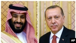 FILE – This combination photo shows Saudi Crown Prince Mohammed bin Salman, left, and Turkey's President Recep Tayyip Erdogan prior to their meeting in Jiddah, Saudi Arabia, July, 23, 2017.