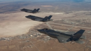 Three F-35 Joint Strike Fighters (rear to front) AF-2, AF-3 and AF-4. A new system to prevent pilots from suffering loss of consciousness is being developed for the aircraft.