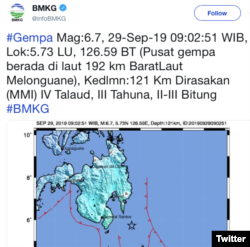 Data BMKG menunjukkan terjadinya gempa berkekuatan 6,7 skala richter di Melonguane, Sulawesi Utara