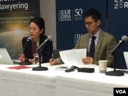 澳大利亚国立大学战略政策研究教授吴翠琳(Evelyn Goh)和耶鲁-新加坡国立大学学院助理教授黄劲豪(Chin-Hao Huang)(美国之音方冰拍摄)