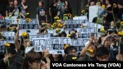 參與集會的人士手持象徵台灣反服貿的太陽花及反暴力執法標語 (美國之音湯惠芸拍攝)