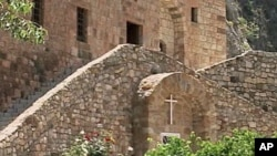 The exterior of one of the many houses of worship in Lebanon's Qadisha Valley