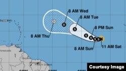 Tormenta tropical Lee, avanza detrás del huracán José y de la depresión tropical 15 en el Caribe. Cortesía Centro Nacional de Huracanes.