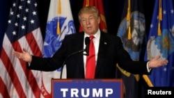 Presumptive Republican presidential nominee Donald Trump delivers a speech in Virginia Beach, Virginia, July 11, 2016.