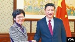 習近平會見香港候任特首林鄭月娥。