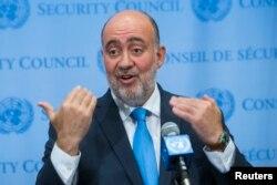 FILE - Israel's U.N. Ambassador Ron Prosor speaks to the media.