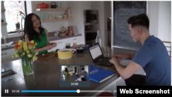Bà July Lê và Derrick Ngô trong chương trình của Đài ABC News.
