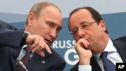 出席G20峰会的俄罗斯总统普京与法国总统奥朗德