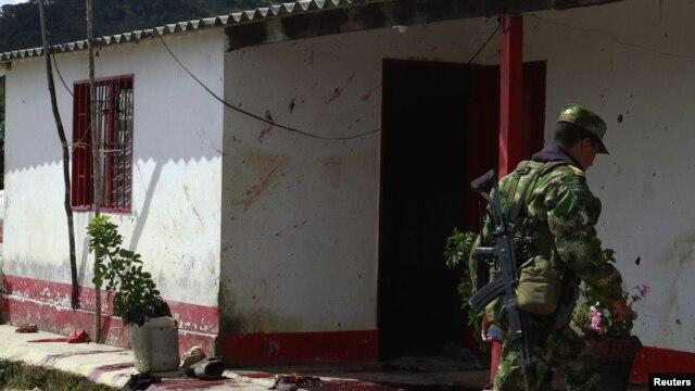 Lugar de la masacre de diez campesinos en la población de Santa Rosa de Osos al norte de Colombia.