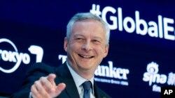 Bruno Le Maire, ministre français de l'Economie et des Finances, prend la parole lors d'un débat sur l'économie mondiale, en marge des assemblées annuelles de la Banque mondiale et du FMI à Washington, le 12 octobre 2017.