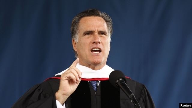 Mitt Romney, President Barack Obama's likely challenger in the November election, speaks at the Liberty University commencement ceremony in Lynchburg in the US state of Virginia May 12, 2012.