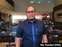 Andrie Rosiade, Juru Bicara Timses Prabowo-Sandi Andre Rosiade usai berbicara kepada wartawan di Jakarta Pusat, Sabtu, 22 September 2018. (Foto: VOA/Rio Tuasikal)