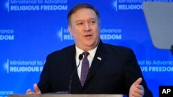 FILE - Secretary of State Mike Pompeo, speaks at the close of a three-day conference on religious freedom at the State Department in Washington, July 26, 2018.