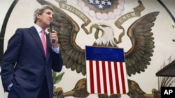 U.S. Secretary of State John Kerry delivers a speech to U.S. foreign service workers at the U.S. Embassy in Tokyo during a 'Meet & Greet' gathering, Apr. 15, 2013.