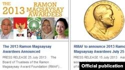 ေဒၚလဖိုင္စိုင္းေရာ္အပါအ၀င္ ၂၀၁၃ ခုႏွစ္ Magsaysay ဆုရရွိသူမ်ား (ဓာတ္ပံု - http://www.rmaf.org.ph/newrmaf/main/community/announcement/1)
