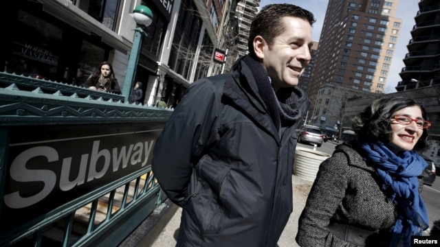 """Comedians and makers of the documentary film """"The Muslims are Coming"""" Dean Obeidallah (L) and Negin Farsad are pictured during an interview with Reuters outside a subway station in the Manhattan borough of New York City, March 7, 2016."""