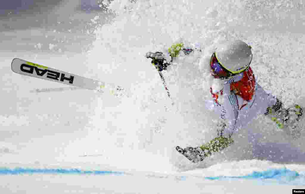 Andorra's Joan Verdu Sanchez crashes in the men's alpine skiing giant slalom event at the 2014 Sochi Winter Olympics.