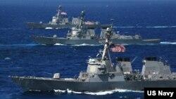 미 해군 구축함들. (자료사진)