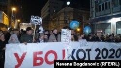 Antivladin protest u Beogradu, 8. februara 2020. (Foto: Nevena Bogdanović, RSE)