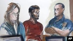 Цртеж од судницата: Нафис (во средината) со адвокатот (лево).