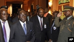 Zimbabwean President Robert Mugabe (2nd L) arrives at the SADC (Southern African Development Community) troika summit in Livingstone, Zambia, March 31, 2011