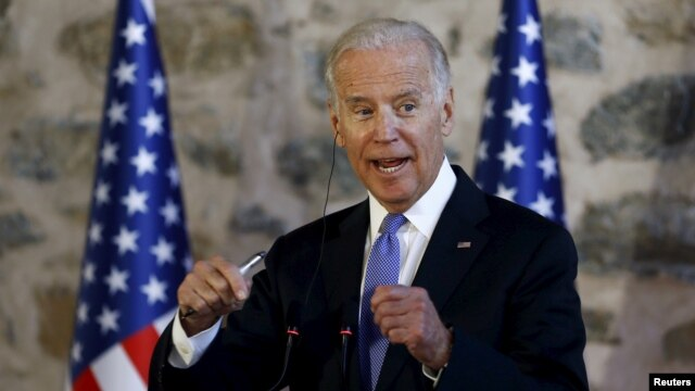 U.S. Vice President Joe Biden speaks during a joint news conference with Turkish Prime Minister Ahmet Davutoglu (not pictured) in Istanbul, Turkey, Jan. 23, 2016.