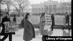 საპროტესტი აქცია თეთრ სახლთან, ვიეტნამის ომის წინააღმდეგ, 1968 წლის იანვარი