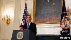 美国总统奥巴马就伊拉克人道主义援助问题在白宫发表谈话。2014年8月7日