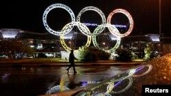 Олимпийская символика установлена перед входом аэропорта города Сочи, столицы Зимних Олимпийских игр 2014 года (архивное фото)