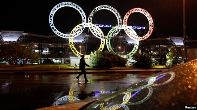 The Olympic rings are seen in front of the airport of Sochi, the host city for the 2014 Winter Olympics, April 22, 2013.