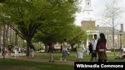 존슨홉킨스대학교 교정을 걷고 있는 학생들.