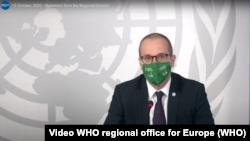 Кадр з відео звернення регіонального директора ВООЗ у Єропі Ганса Клюґе 15 жовтня 2020 р.