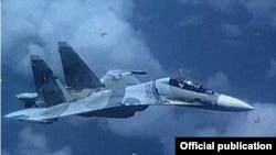 Avión Sukhoi 30 de fabricación rusa, propiedad de la FANB de Venezuela, que según el Comando Sur de EE.UU., se acercó peligrosamente a un avión militar estadounidense que realizaba tareas multinacionales de vigilancia reconocidas y aprobadas en aguas internacionales.