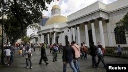 The National Assembly building in Caracas, Venezuela, Dec. 22, 2015.