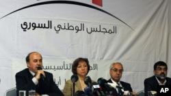 From left: Members of Syrian National Council - Ahmed Ramadan, Bassma Kodmani, Abdulbaset Seida and Imad Aldeen Rashid in Istanbul, Turkey (file photo)