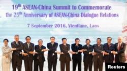 Lãnh đạo các nước tham gia Hội nghị thượng đỉnh ASEAN-Trung Quốc tại Vientiane, Lào, ngày 7 tháng 9 năm 2016.