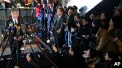 지난달 30일 중국 베이징에서 성 김 대북정책 특별대표가 기자회견을 가지고 있다. (자료사진)