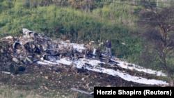 Mabaki ya ndege ya kivita F-16 ya jeshi la Israeli.
