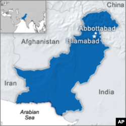 Map showing Abbottabad, Pakistan, where Osama bin Laden's compound was located.