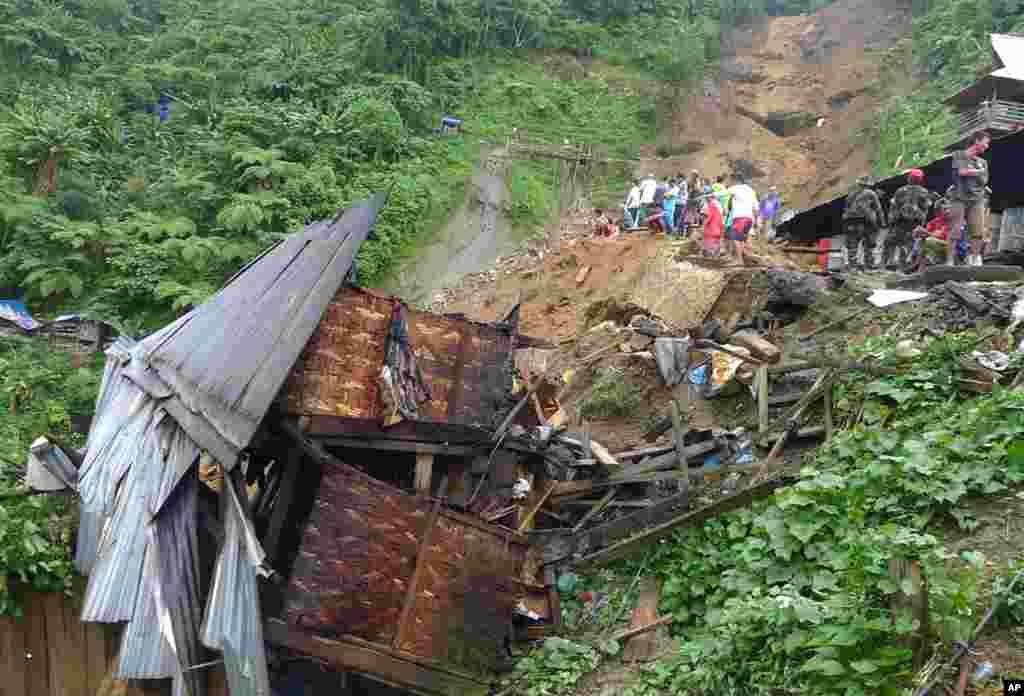 Shanty houses were destroyed after the landslide in Pantukan. (Reuters)