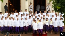 The Cambodia National Rescue Party lawmakers attended a swearing in ceremony in traditional dress at the Royal Palace, in front of King Norodom Sihamoni.