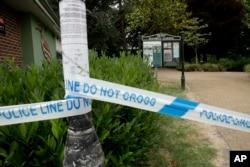 Police tape cordons off the Queen Elizabeth Gardens park in Salisbury, England, July 4, 2018.