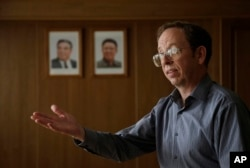 Jeffrey Fowle speaks to the Associated Press in Pyongyang, Sept. 1, 2014, while being detained in North Korea.