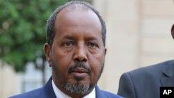 FILE - Somalia President Hassan Sheikh Mohamud addresses the media.