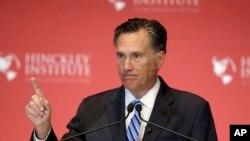 FILE - Former Republican presidential candidate Mitt Romney speaks at the University of Utah in Salt Lake City, March 3, 2016.
