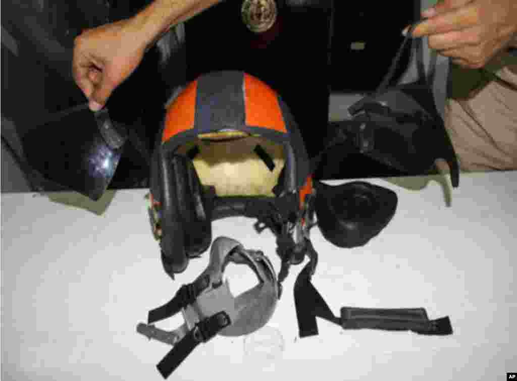 This photo taken July 4, 2012 and provided by the Turkish military shows the helmet of one of the Turkish pilots of a jet shot down by Syrian forces on June 22, 2012.
