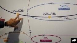Схема эксперимента, проводившегося на Большом адронном коллайдере под эгидой Европейского центра ядерных исследований