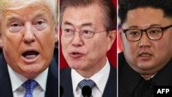 도널드 트럼프 미국 대통령과 문재인 한국 대통령, 김정은 북한 국무위원장.